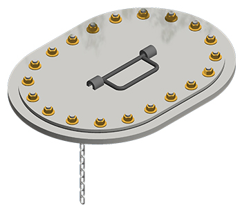 NABRICO DF-510 Flush Multi-Stud Oval Hatch with Chain